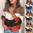 Fashion Women Striped O Neck Color Block Long Sleeve Sweater Loose Knit Pullover