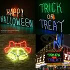 Neon Light Sign Santa Bells Shape Happy Halloween TRICK OR TREAT Wall Decor xmas
