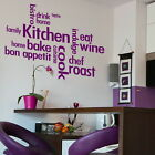 Kitchen Words Wall Stickers - Cafe Bake Home Decals, Chef Bistro Art Quote Kq1