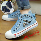 Women  s Denim Chic High-top Back Lace-p Breathable Flat Canvas Sneakers Shoes