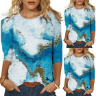 Womens 3D Abstract Print Long Sleeve Crew Neck T-shirts Blouse Shirt Tunic Tops