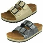 Spot On Ladies Double Strap Slip On Mules
