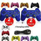 2pcs For Ps3 Controller Playsation 3 Dual Shock Wireless Bluetooth Gamepad Us