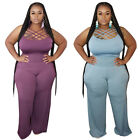 2pcs New Plus Women Fashion Bodycon Solid Color Spaghetti Backless Pants Outfit
