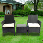 Rattan Furniture Set 3pc Outdoor Garden Sofa Set 2 Arm Chair Coffee With Table
