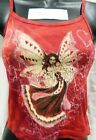 Hearts On Wings of Fairy Hand Dyed Red Spaghetti Strap Shirt UNWORN