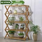 Bamboo Folding Ladder Shelf Book Plant Shelf Multiple Use Strong Elegant