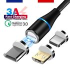 Câble USB Chargeur Magnétique Nylon Data Quick Charge 3A Type-C Micro iOS...