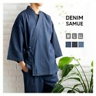 Traditional Japanese Men's Work Ware Samue Denim Fabric Fast Shipping From Japan