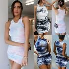 Tie-Dye Dress Sexy Bodycon Mini Hollow Wrap Dress for Women Summer Party 2021