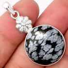 Natural Snow Flake Obsidian 925 Sterling Silver Pendant Jewelry 7003