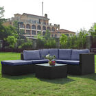 Outdoor 5 Seaters Rattan Furniture Set Sofa Garden Patio Chairs & Table Yard