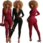 NEW Fashion Women's Solid Color Long Sleeves Zipper Bodycon Club Party Jumpsuit