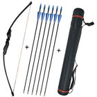 40lbs Adult Bow Arrrows Kit Quiver Recurve Straight Bow Takedown Archery Target