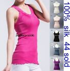 Women's Girls 100% Silk Seamless Knitted Casual Vest Tank Top Tee One size S-L