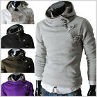 (4BH) THELEES Mens casual luxury buckle hoodie slim Fit Long sleeve sweatshirts