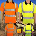 Hi Vis Safety Yellow Orange Polo T Shirt New EN 471