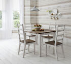 Table and 4 Chairs, Dining Table in Dark Pine and White Canterbury 90cm x 90cm