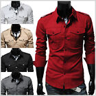(N316) THELEES Unique Mens casual slim fit strap big pocket  shirts