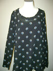 DKNY Black Floral Long Sleeve Tunic & Tank Small NWT $225