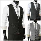 (SVE) Mens casual slim Fit chain Decoration point 3 buttons Formal Dress vest