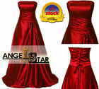 Red Satin Bridesmaid Wedding Evening Party Dress