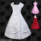 Satin Dresses Wedding Flower Girl Bridesmaid Party Communion Occasion 2-12y 011J