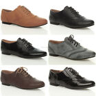 WOMENS LADIES CASUAL BROGUE LACE UP VINTAGE FLAT SHOES SIZE