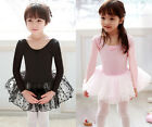 Girl Ballet Tutu Dance Costume Long Sleeve Leotard Dress Party Skirt Fairy Gift