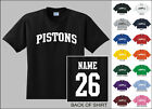 Pistons College Letters Custom Name & Number Personalized Basketball T-shirt