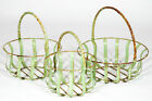 Small Round Strap Metal Basket - 3 Sizes and Colors, Wrought Iron Garden Design