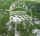 Wrought Iron Small Kidney Bench w/ Flowers, Solid Metal Furniture - Very Nice!