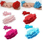 Free Shipping Girl Baby Ruffle Pants 0-24M Bloomers Nappy Cover Skirt+Headband
