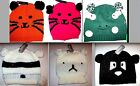 CHARACTER BEANIE HAT TIGER KITTEN FROG PANDA TEDDY BEAR RACCOON CHILD ADULT