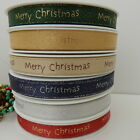 3 x metres  green or red  Merry Christmas Ribbon gold writing 10mm