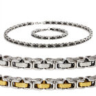 Mens Stainless Steel Link Chain Necklace & Bracelet Set w/Engraved Tribal Design