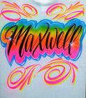 Airbrush T Shirt Name And Swirls, Airbrush T Shirt, Airbrush Name, Airbrush