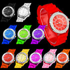 new lady bling crystal silicone bracelet sport wrist watch cool