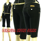 Beverly Moleton Jeans Bermuda Extended Belt Low Rise 3Button Stretch Short Jeans