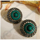 fashion a pair tapered  turquoise bronze retro flower earring