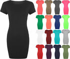 New Ladies Bodycon Stretch Short Sleeve Dress Womens Plus Size Long Top 16 - 20