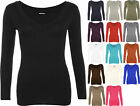 New Ladies V Neck Long Sleeve Stretch Top Plus Size Womens Plain T-shirt 16 - 20