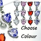 New Triple CZ Heart Reverse Top Down Drop Belly Bar Navel Ring Crystal (B43)