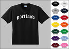 City of Portland Old English Font Vintage Style Letters T-shirt