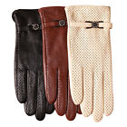 Comfortable Women Italian perforated leather gloves w/ metal flora buckle