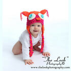 Melondipity Orange Crochet Owl Baby Hat Boys Girls Knit Animal Braids Ear Beanie