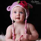 Melondipity Girl Crochet Baby Hat with Flower Purple Knit Beanie Animal Braids