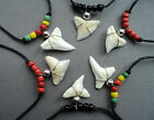 SHARK TOOTH NECKLACE glass bead REAL SHARKS TEETH PENDANT  30 designs in stock