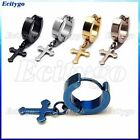 1 Pair Cool Men's Stainless Steel Cross Hoop Earrings 5 Colors