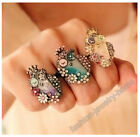 Fashion Enamel Owl Flower Crown Mixed Colour Crystal Ring